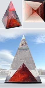 Red Pyramid - available glass sculpture! Click for details.