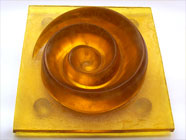 Yellow spiral - mold melted glass Sculpture - Christmas sale